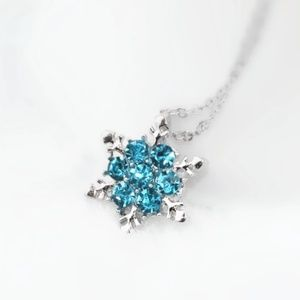 Blue Rhinestone Snowflake Necklace